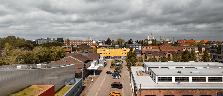 Ausblick aus dem FUX-Gebäude über Karlsruhe am Tag der hallo.digital Convention 2021