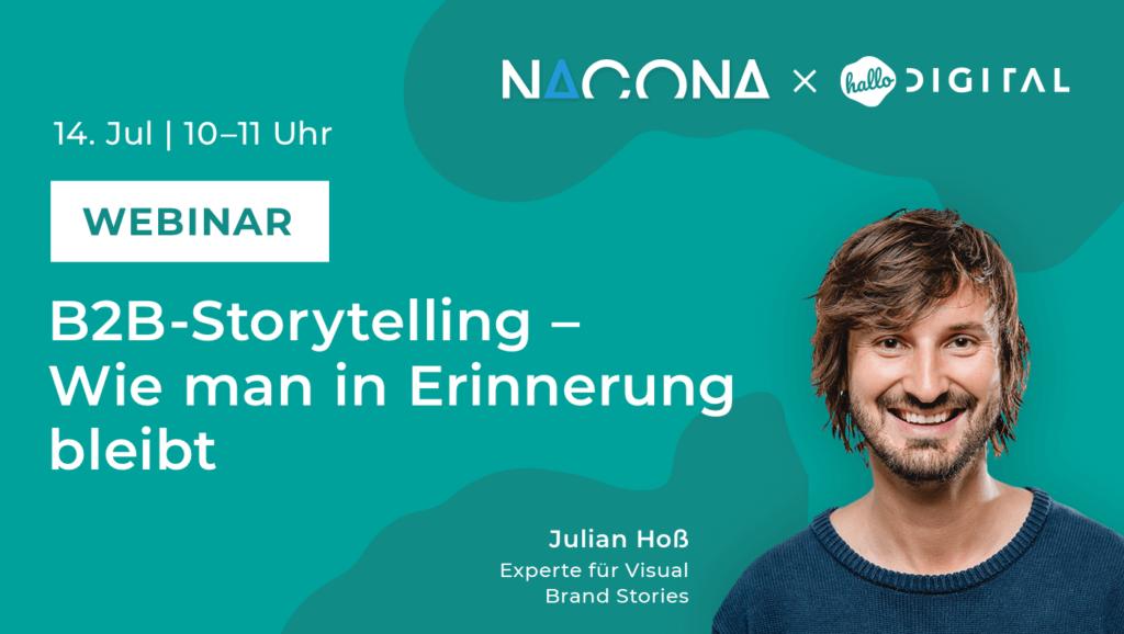 Titelbild Webinar B2B Storytelling mit Portrait von Julian Hoss