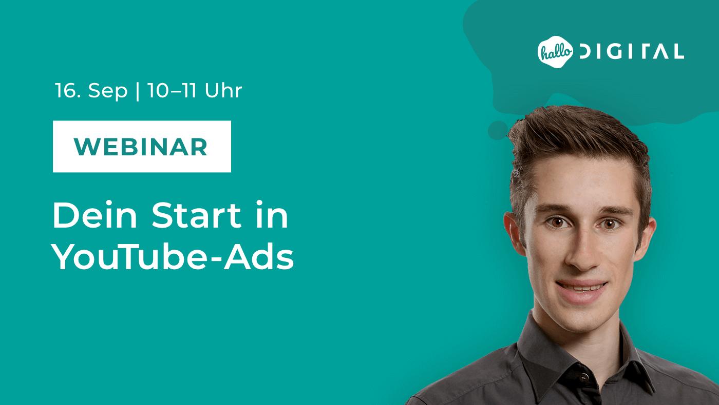Titelbild Webinar Dein Start in Youtube Ads mit Portrait von Jonas Neumann