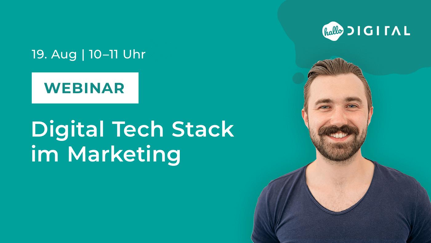 Titelbild Webinar Digital TechStack im Marketing mit Portrait von Jacob Doering