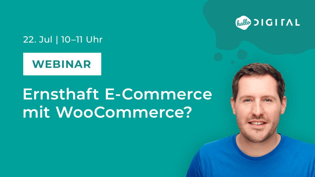 Titelbild Webinar E-Commerce mit WooCommerce mit Portrait von Stephan Sperlin
