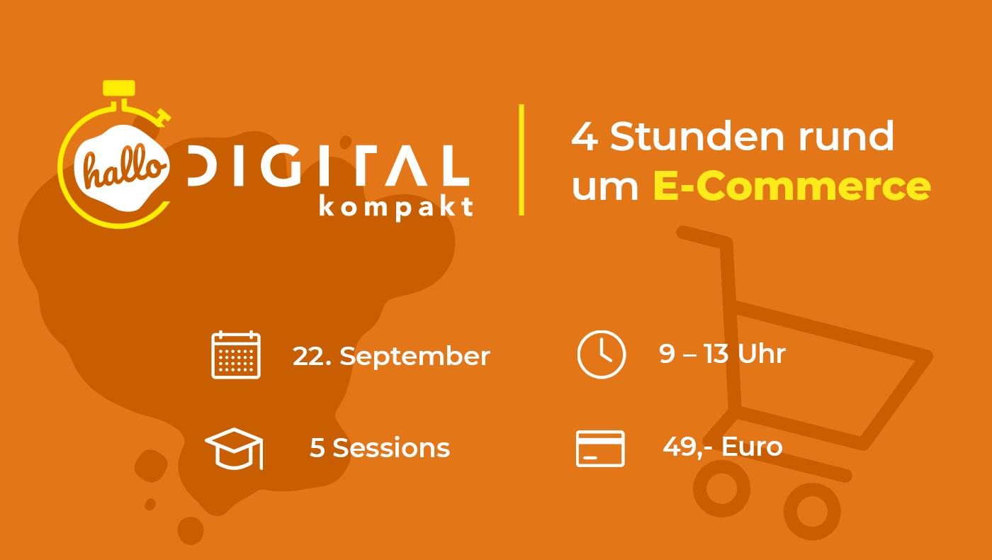 Event-Übersicht zur halbtägigen Convention. hallo.digital kompakt – Ein Vormittag rund um E-Commerce