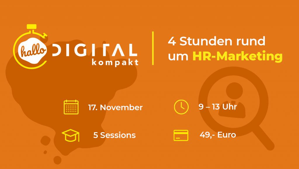 Event-Übersicht zur halbtägigen Convention. hallo.digital kompakt – Ein Vormittag rund um HR-Marketing
